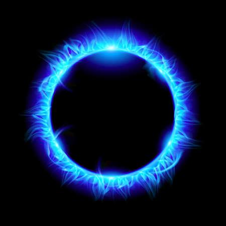 flammes: Bleu �clipse solaire. Illustration sur fond noir pour la conception