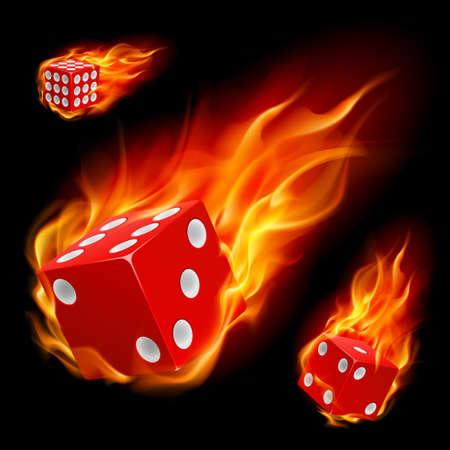 kostky: Kostky v ohni. Ilustrace na černém pozadí