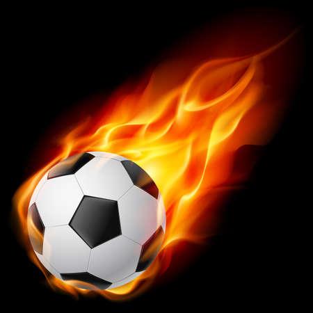 balon soccer: Balón de fútbol en llamas. Ilustración sobre fondo negro Vectores