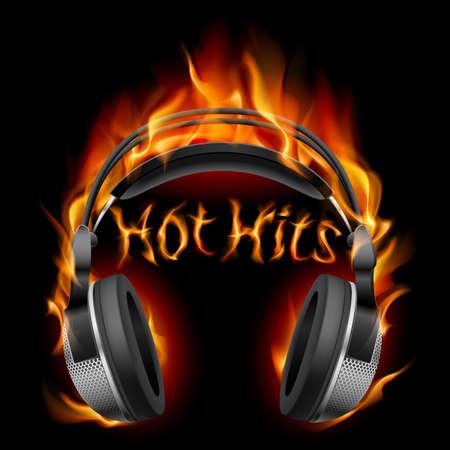 audifonos: Auriculares en fuego. Ilustraci�n sobre fondo negro