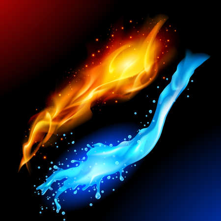 A bright blue and yellow orb circle representing the elements of fire and water.