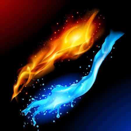 Jasny niebieski i żółty krąg kula reprezentująca elementy ognia i wody.