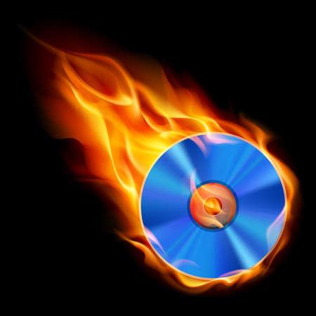 flames of fire: Burning CD. Illustration on black background for design