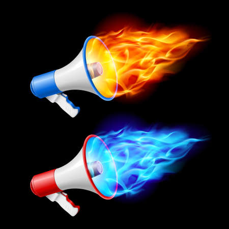 hot news: Megaphones in red and blue flame. Illustration on black background