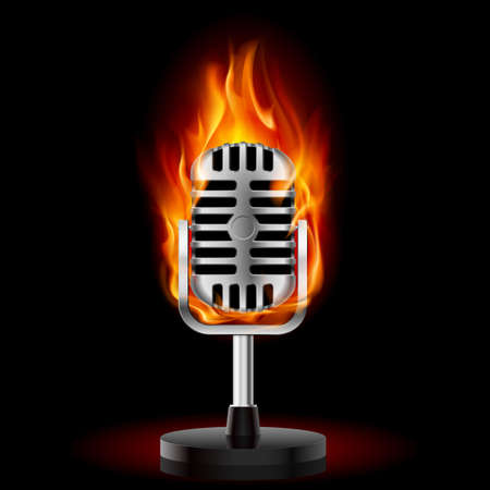 vintage mic: Old Microphone in Fire. Illustration on black background