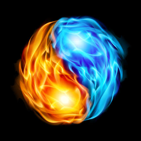 빨간색과 파란색 화재의 형태로 검은 배경의 음과 양의 상징 일러스트