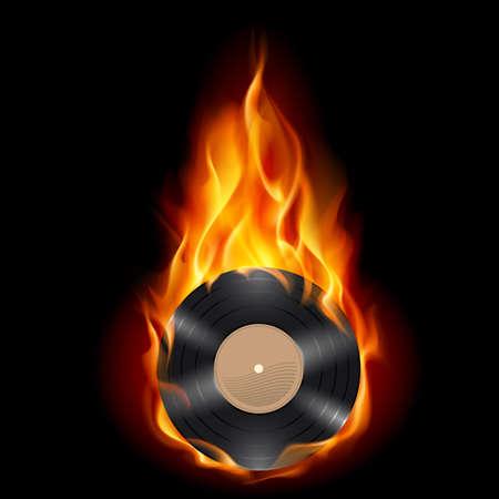 disk jockey: Disco in vinile brucia il simbolo. Illustrazione su sfondo nero