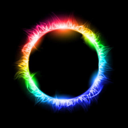 dark nebula: Colorful Solar eclipse. Illustration on black background for design Illustration