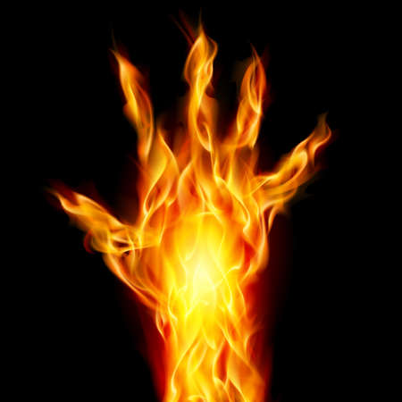 Fire hand on black background for design Stock Vector - 10144016