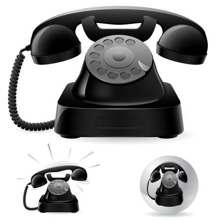 Illustration de vieux icônes de téléphone noir sur fond, blanc d'art abstrait; Vecteurs