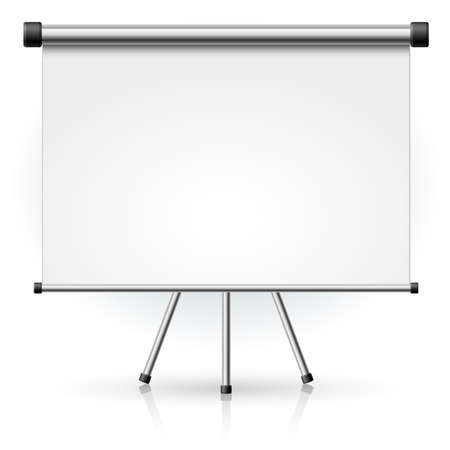 tv camera: Blank portable projection screen over white background for design