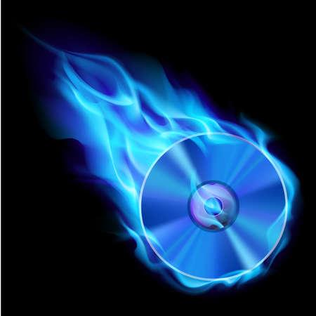 Grabar CD azul. Ilustración sobre fondo negro de diseño
