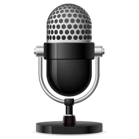 omroep: Realistische retro microfoon nummer twee. Illustratie op witte achtergrond voor ontwerp