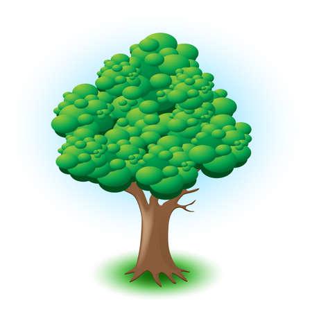 Großer Baum mit grünen Blättern auf weißem Hintergrund Vektorgrafik
