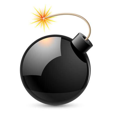 dinamita: Bomba de dibujos animados.Ilustración sobre fondo blanco