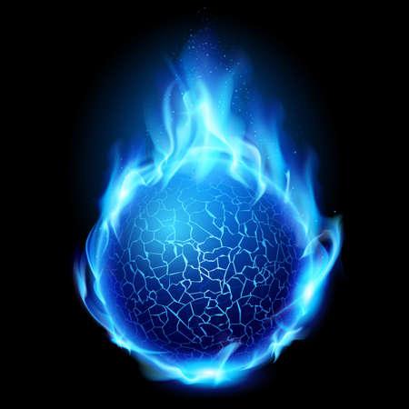 Bola de fuego azul. Ilustración sobre fondo negro de diseño