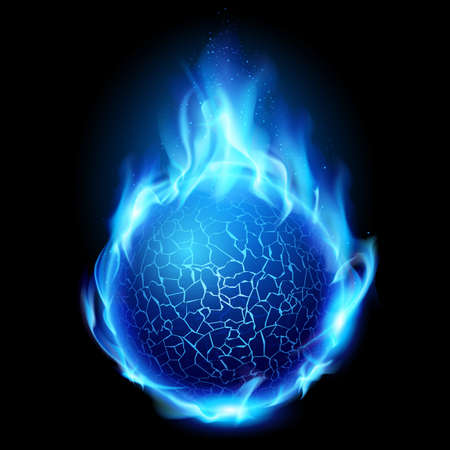 fuego azul: Bola de fuego azul. Ilustraci�n sobre fondo negro de dise�o