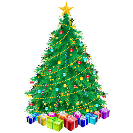 Christmas tree and gifts. Illustration on white background Vector