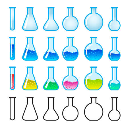 reactions: Set of Chemical Science Equipment. Illustration on white background