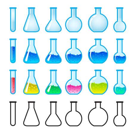 Set van Chemische Wetenschappen Equipment. Illustratie op witte achtergrond