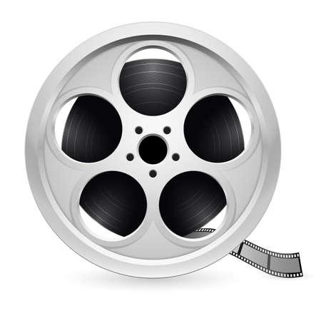 rollo pelicula: Realista carrete de película. Ilustración sobre fondo blanco