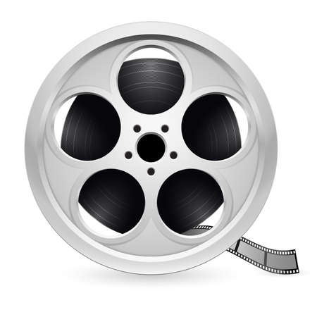 Realistic reel of film. Illustration on white background Vector