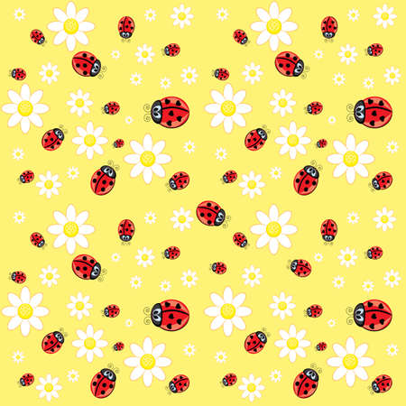 Seamless ladybug pattern. Illustration of a designer on a yellow background Vector