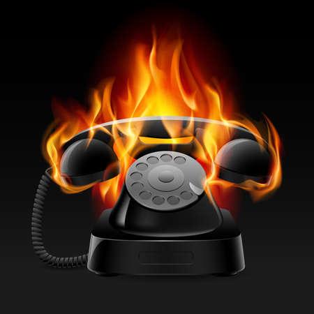 cable telefono: Teléfono retro fuego realista. Ilustración del diseñador sobre un fondo negro