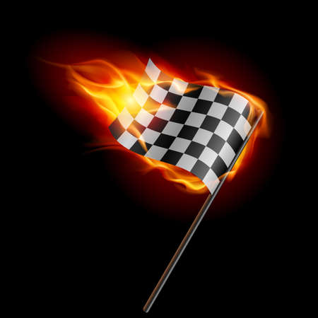 formula one: Illustration of the burning checkered racing flag on black