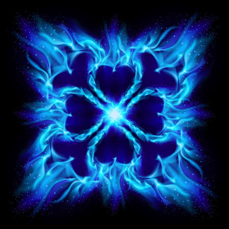 Blue Burning fire cross. Illustration on black background for design Vector