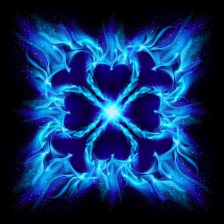 Blau brennen Feuer Kreuz. Abbildung auf schwarzem Hintergrund für design