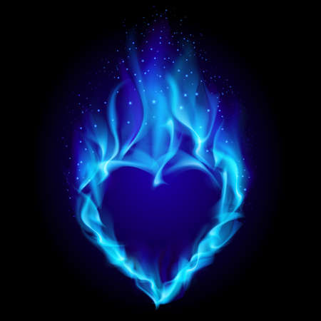 burning love: Heart in blue fire. Illustration on black background for design Illustration