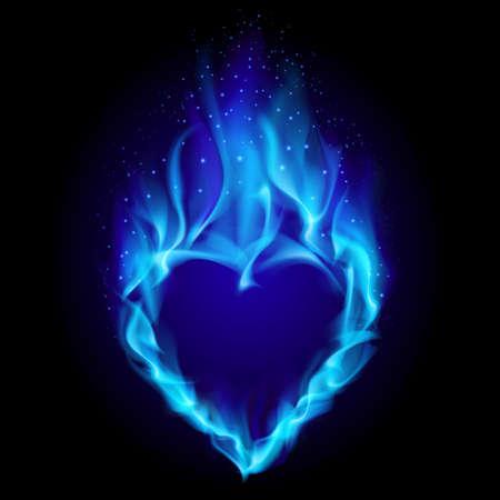 Herz in blaues Feuer. Abbildung auf schwarzem Hintergrund für design