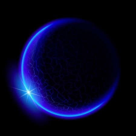 Un planeta azul en el espacio profundo. Espacio negro. Sunset azul.