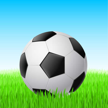 Soccer ball on grass with space for your text. Stock Vector - 10365787