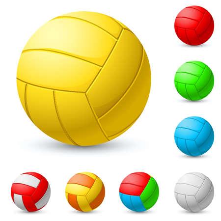 pallamano: Pallavolo realistico in diversi colori. Illustrazione su sfondo bianco