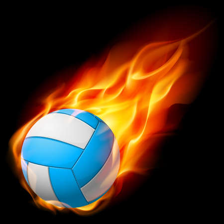 pelota caricatura: Voleibol de fuego realista. Ilustraci�n sobre fondo blanco
