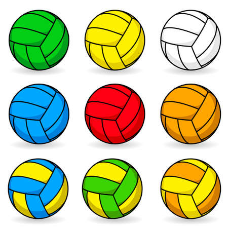 colored backgrounds: Cartoon volleyball in different colors Illustration