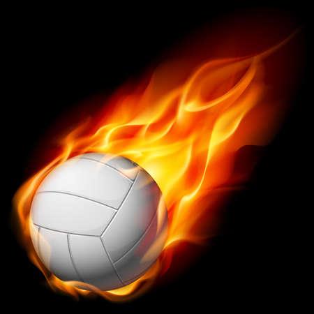 волейбол: Огонь волейболу. Иллюстрация на белом фоне