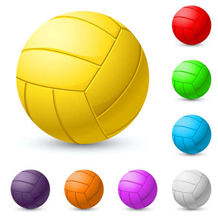 competitive sport: Multi-colored volleyball realiste. Illustration on white background Illustration