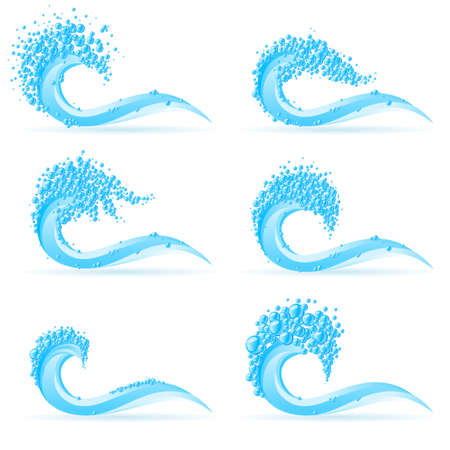 health drink: Illustration of set cool water wave on white background Illustration