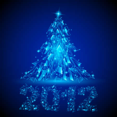Abstract glowing background. Blue Christmas tree for design