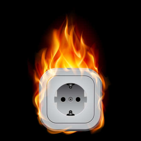 fire plug: Realistic burning socket. Illustration on white background for design