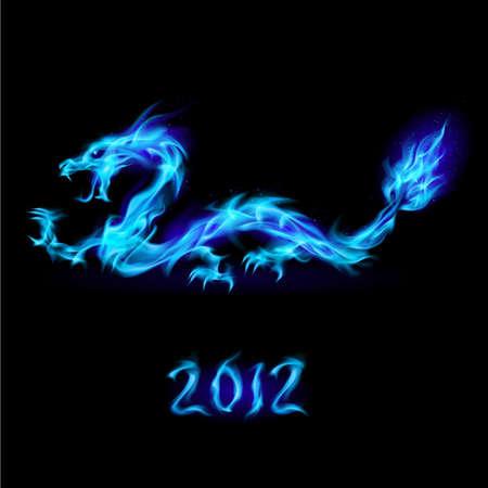 drago alato: Astratto blue dragon ardente. Illustrazione su sfondo nero per la progettazione  Vettoriali
