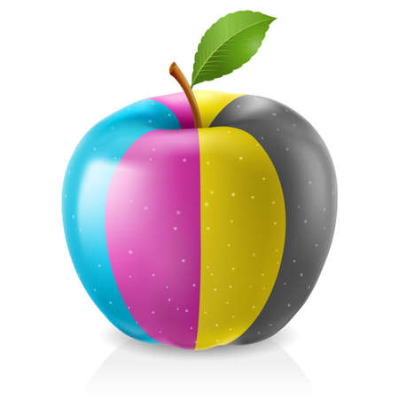 color reflection: Delicious CMYK apple. Illustration on white background Illustration