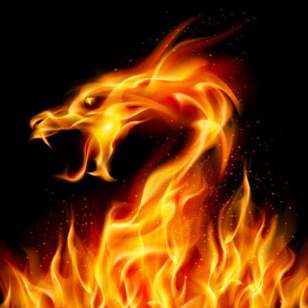 fantasy art: Abstract fiery dragon. Illustration number two on black background for design