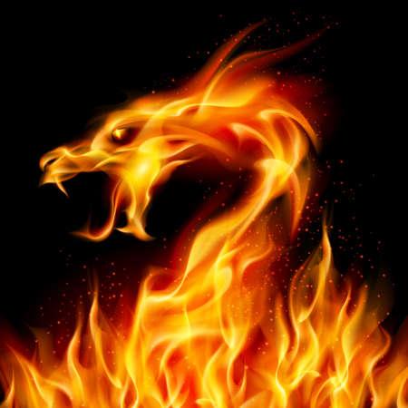 drago alato: Drago ardente astratta. Numero due di illustrazione su sfondo nero per la progettazione