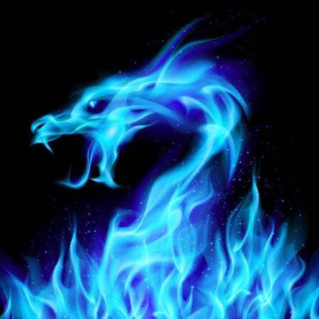 colourful fire: Abstract blue fiery dragon. Illustration number two on black background for design