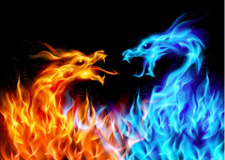 fire symbol: Abstract blue and red fiery dragons. Illustration on black background for design