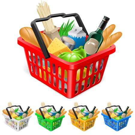 canastas con frutas: Cesta de la compra con alimentos. Ilustración realista para el diseño